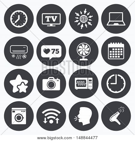 Calendar, wifi and clock symbols. Like counter, stars symbols. Home appliances, device icons. Electronics signs. Air conditioning, washing machine and microwave oven symbols. Talking head, go to web symbols. Vector