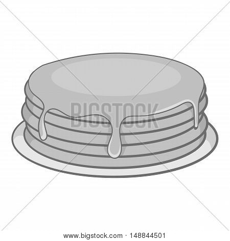 Pancakes with honey icon in black monochrome style isolated on white background. Food symbol vector illustration