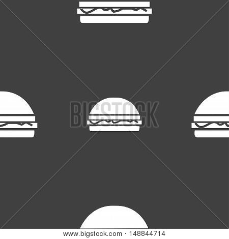 Hamburger Icon Sign. Seamless Pattern On A Gray Background. Vector