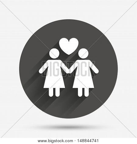 Couple sign icon. Woman love woman. Lesbians with heart. Circle flat button with shadow. Vector