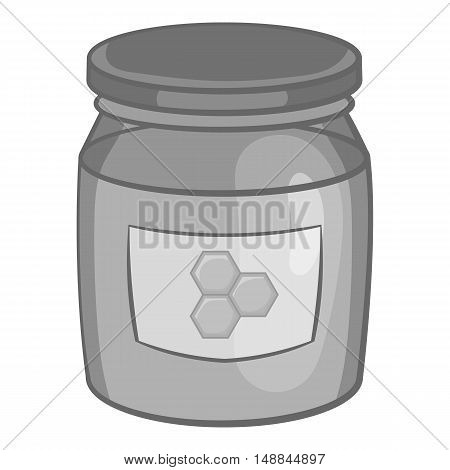 Jar of honey icon in black monochrome style isolated on white background. Food symbol vector illustration