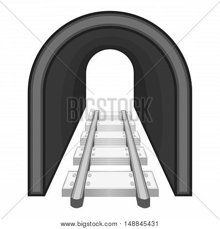 Rails icon in black monochrome style isolated on white background. Railway symbol vector illustration