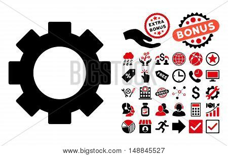 Gear pictograph with bonus pictogram. Vector illustration style is flat iconic bicolor symbols intensive red and black colors white background.
