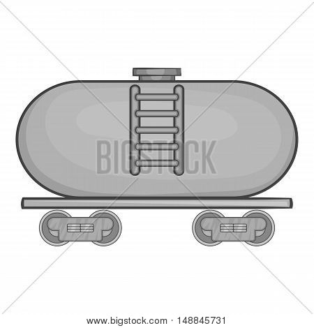 Tanker trailer on train icon in black monochrome style isolated on white background. Freight symbol vector illustration