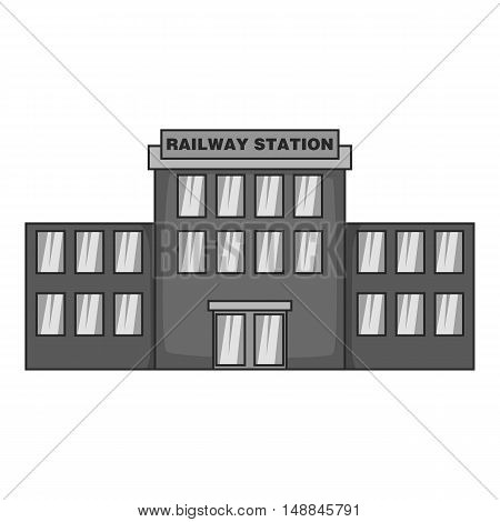 Railway station icon in black monochrome style isolated on white background. Building symbol vector illustration