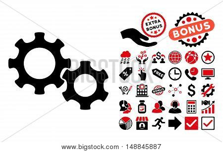 Gears pictograph with bonus icon set. Vector illustration style is flat iconic bicolor symbols intensive red and black colors white background.