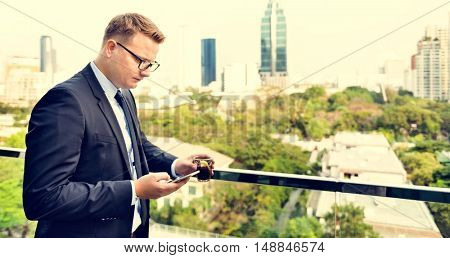 Businessman Working Connecting Smart Phone Concept