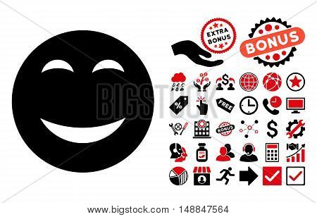 Happy pictograph with bonus pictogram. Vector illustration style is flat iconic bicolor symbols intensive red and black colors white background.