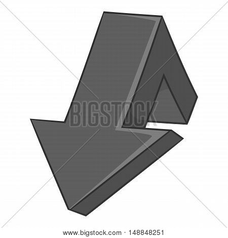 Large arrow shows down icon in black monochrome style isolated on white background. Click and choice symbol vector illustration
