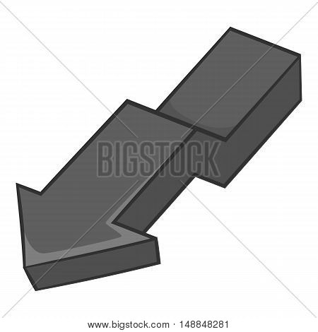 Large curve arrow down icon in black monochrome style isolated on white background. Click and choice symbol vector illustration