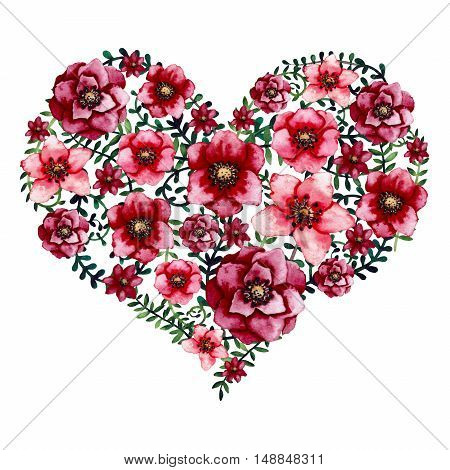 Watercolor Floral Heart with Bright Red Flowers and Green Leaves