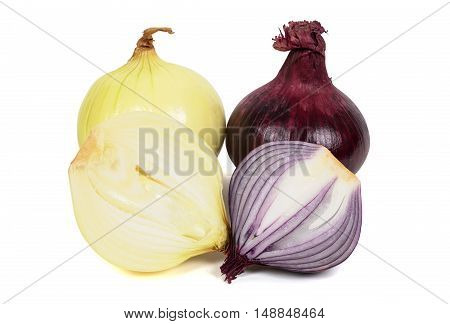 Red and white onions isolated on white background with clipping path