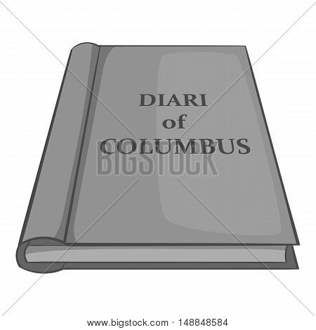 Diary of Columbus icon in black monochrome style isolated on white background. History symbol vector illustration