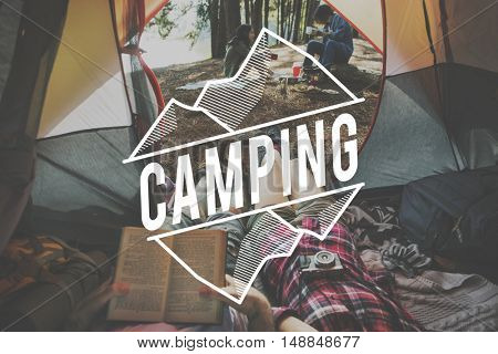 Summer Vacation Camping Outdoors Tent Words Concept