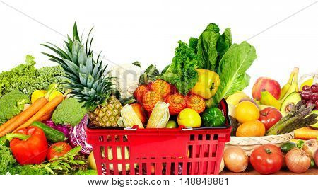 Vegetables and fruits over white background.