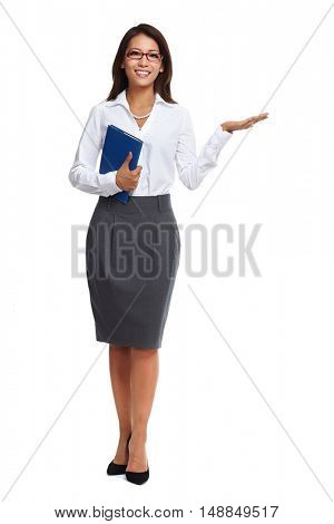 Asian business woman presenting copy space.
