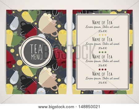 Tea menu. Pattern with cups of tea. Size a4. Vector illustration eps10