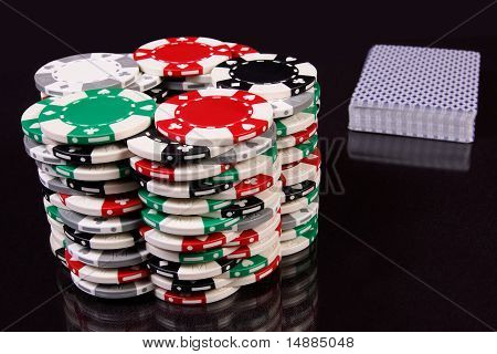 Chips and a pack of cards