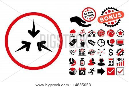 Impact Arrows icon with bonus pictograph collection. Vector illustration style is flat iconic bicolor symbols intensive red and black colors white background.