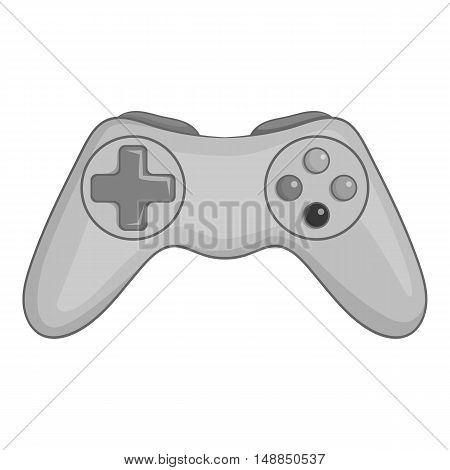 Game joystick icon in black monochrome style isolated on white background. Play symbol vector illustration