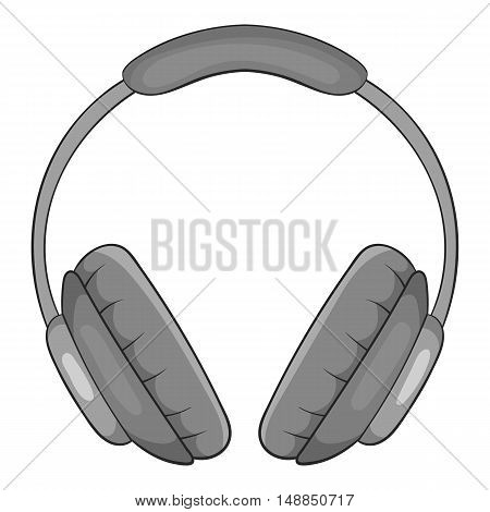 Headphones icon in black monochrome style isolated on white background. Music symbol vector illustration