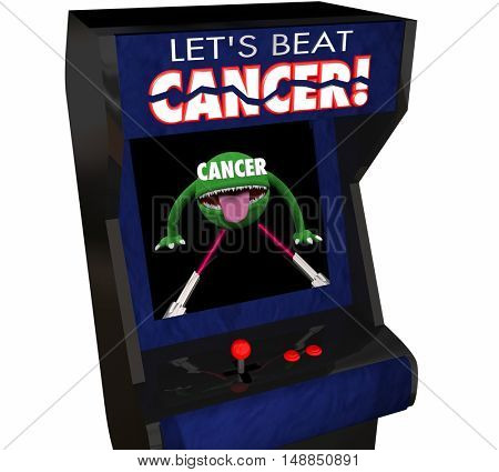 Fight Beat Cancer Treatment Cure Disease Arcade Game 3d Illustration