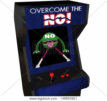 Overcome the No Beat Objection Persuasion Arcade Game 3d Illustration