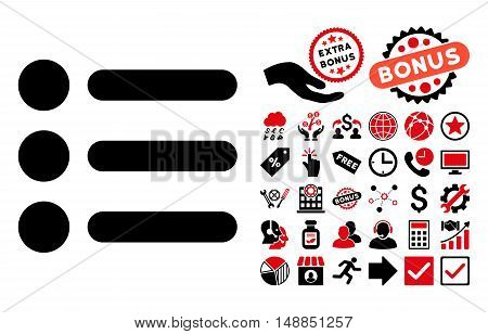 Items icon with bonus design elements. Vector illustration style is flat iconic bicolor symbols intensive red and black colors white background.