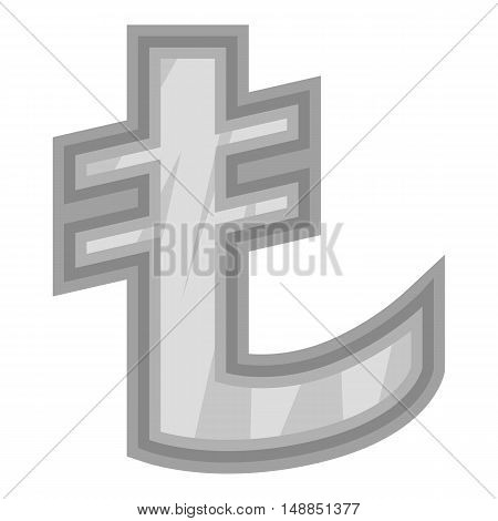 Sign of money lira icon in black monochrome style isolated on white background. Currency symbol vector illustration