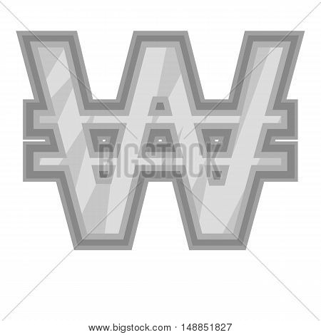 Sign of money won icon in black monochrome style isolated on white background. Currency symbol vector illustration