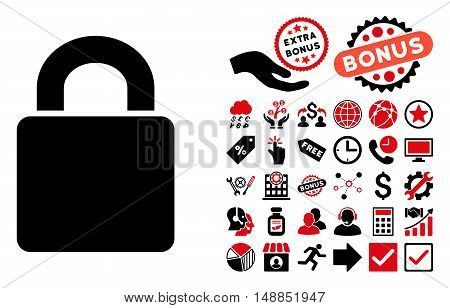 Lock icon with bonus pictograph collection. Vector illustration style is flat iconic bicolor symbols intensive red and black colors white background.