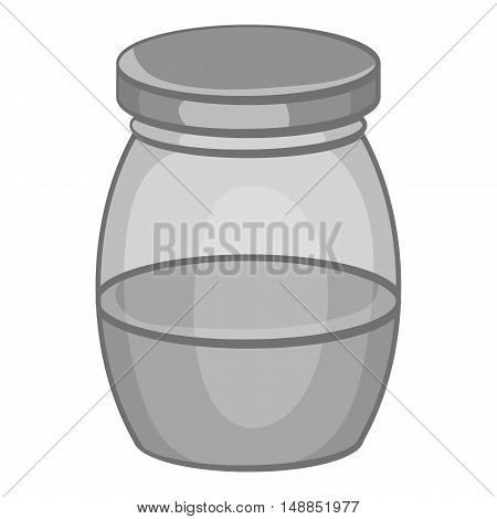 Little honey in jar icon in black monochrome style isolated on white background. Food symbol vector illustration