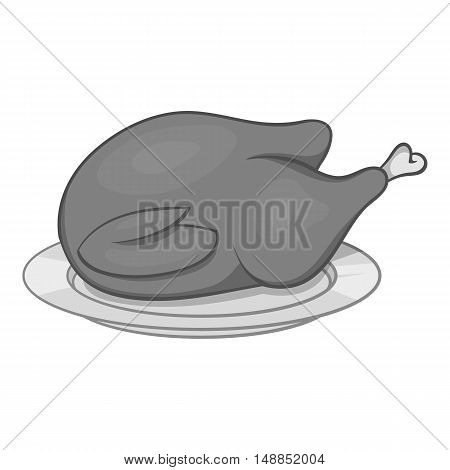 Fried chicken icon in black monochrome style isolated on white background. Food symbol vector illustration