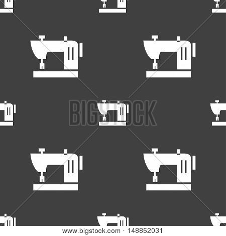 Sewing Machine Icon Sign. Seamless Pattern On A Gray Background. Vector