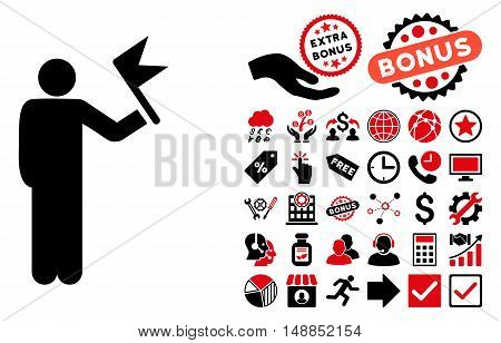 Man With Flag icon with bonus symbols. Vector illustration style is flat iconic bicolor symbols intensive red and black colors white background.
