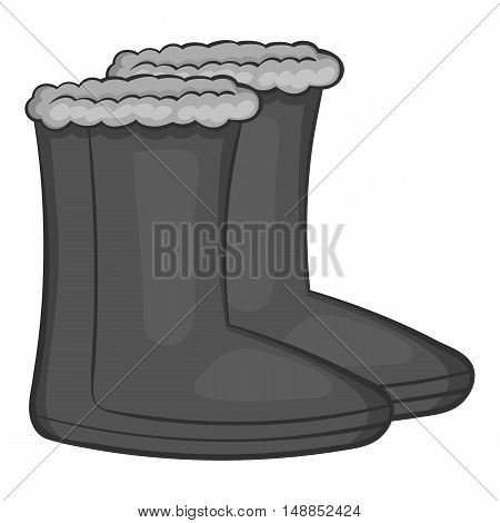 Felt boots icon in black monochrome style isolated on white background. Shoes symbol vector illustration