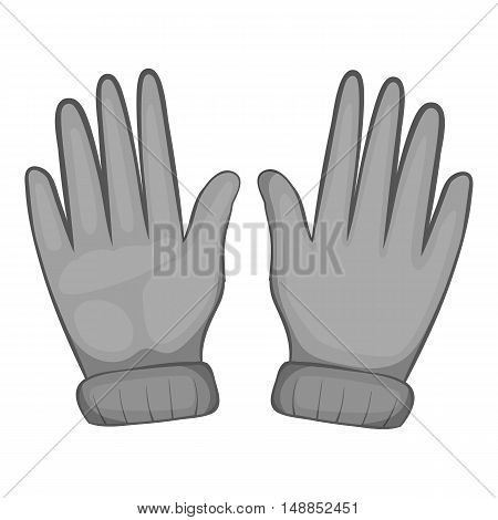 Winter gloves icon in black monochrome style isolated on white background. Accessory symbol vector illustration