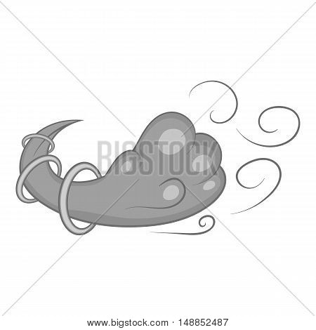 Snow storm icon in black monochrome style isolated on white background. Weather symbol vector illustration