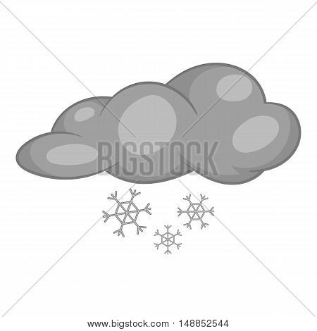 Clouds and snow icon in black monochrome style isolated on white background. Weather symbol vector illustration