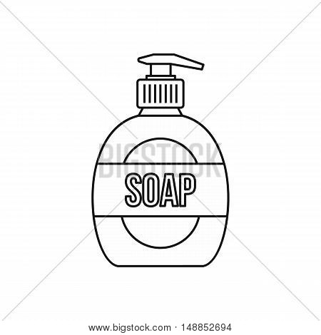Liquid soap icon in outline style isolated on white background. Purity symbol vector illustration