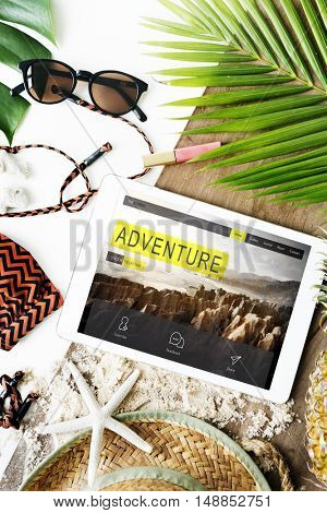 Travel Navigation Journey Vacation Trip Tablet Concept
