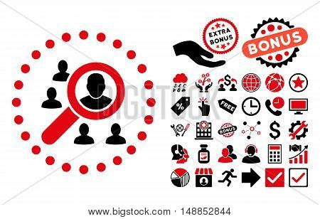 Marketing pictograph with bonus images. Vector illustration style is flat iconic bicolor symbols intensive red and black colors white background.