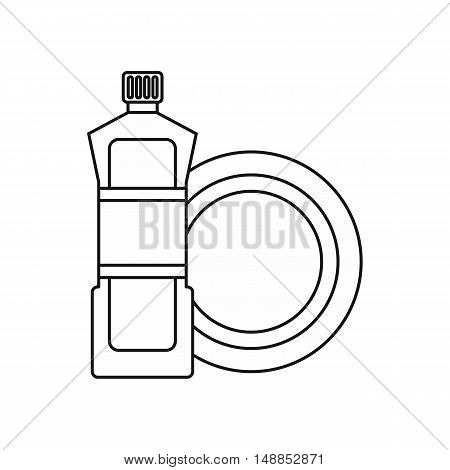 Bottle for dishwashing icon in outline style isolated on white background. Cleaning symbol vector illustration