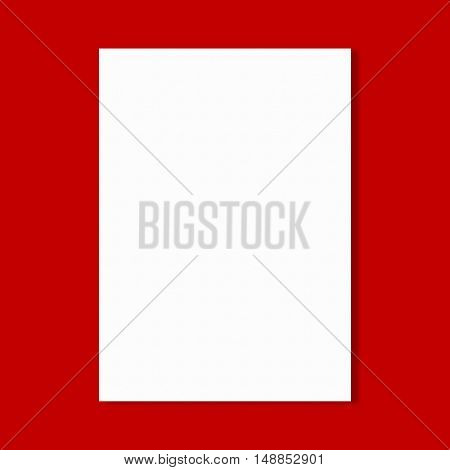 Abstract white paper sheet on red wall background.