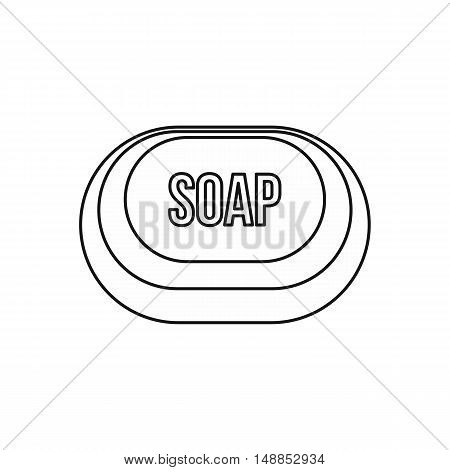 Soap icon in outline style isolated on white background. Purity symbol vector illustration