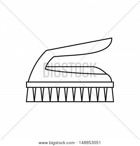 Cleaning brush icon in outline style isolated on white background. Clean symbol vector illustration
