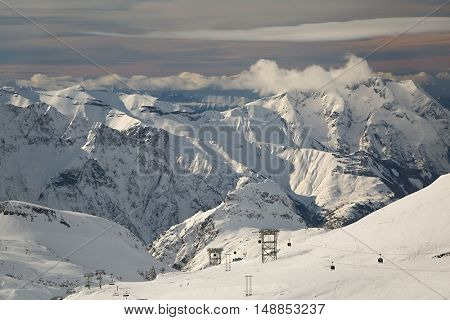 View of the ski slopes of Les Deux Alpes