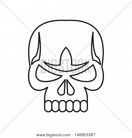 Skull icon in outline style isolated on white background. Death symbol vector illustration