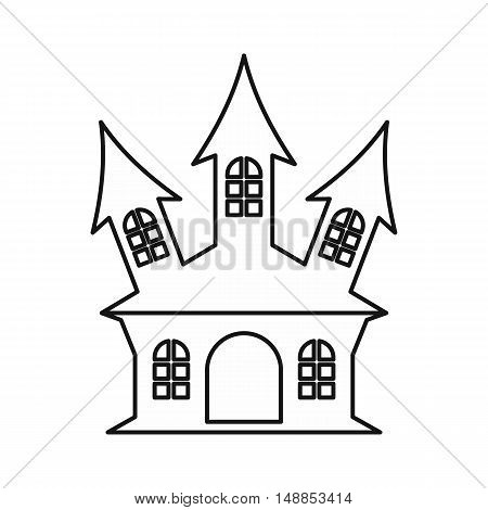 Ancient palace icon in outline style isolated on white background. Structure symbol vector illustration