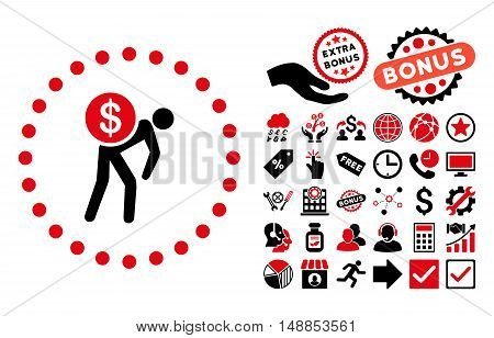Money Courier pictograph with bonus design elements. Vector illustration style is flat iconic bicolor symbols intensive red and black colors white background.